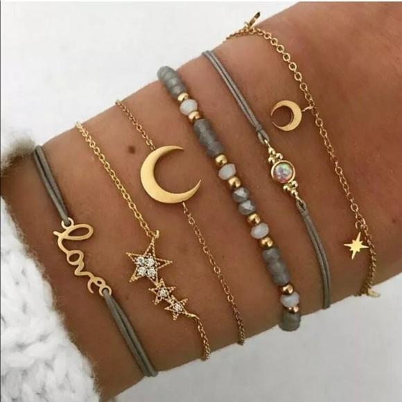 Grey star moon fashion jewelry set of 6 bracelets